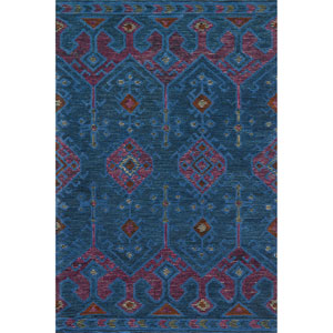 Gemology Blue and Plum Rectangular: 3 Ft. 6-Inch x 5 Ft. 6-Inch Rug