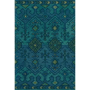Gemology Green and Teal Rectangular: 3 Ft. 6-Inch x 5 Ft. 6-Inch Rug