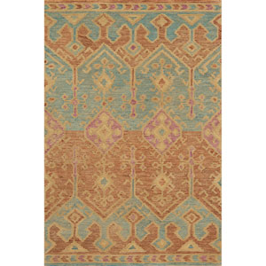 Gemology Spice and Teal Rectangular: 3 Ft. 6-Inch x 5 Ft. 6-Inch Rug