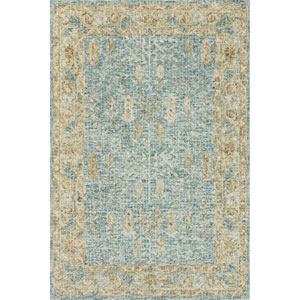 Julian Blue and Gold Runner: 2 Ft. 6 In. x 7 Ft. 6 In.  Rug