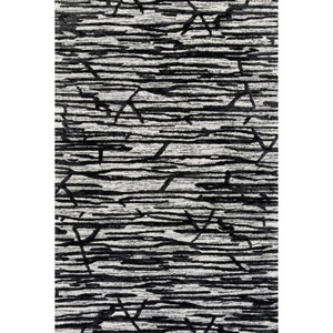 Juneau Ivory and Black Rectangular: 3 Ft. 6 In. x 5 Ft. 6 In.  Rug