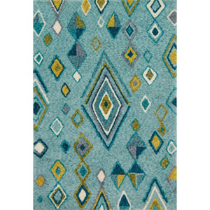 Kalliope Aqua and Teal Rectangular: 3 Ft. 6-Inch x 5 Ft. 6-Inch Rug