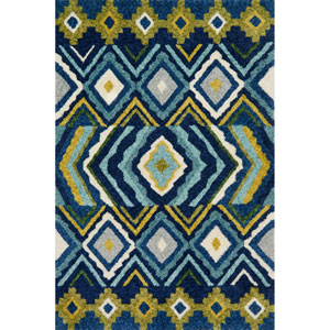 Kalliope Navy and Lime Rectangular: 3 Ft. 6-Inch x 5 Ft. 6-Inch Rug