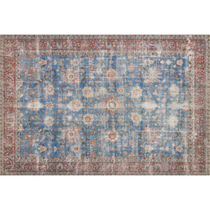 Loren Blue and Brick Rectangular: 2 Ft. 3 In. x 3 Ft. 9 In.