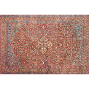 Loren Red and Multicolor Rectangular: 2 Ft. 3 In. x 3 Ft. 9 In.