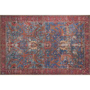 Loren Blue and Red Rectangular: 2 Ft. 3 In. x 3 Ft. 9 In.