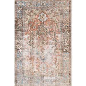 Loren Terracotta and Sky Rectangular: 3 Ft. 6 In. x 5 Ft. 6 In.  Rug