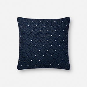 Navy and Silver 18 In. x 18 In. Pillow Cover
