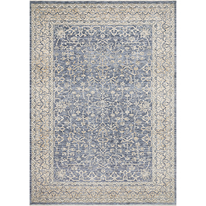 Pandora Dark Blue and Ivory Rectangular: 7 Ft. 10 In. x 10 Ft. Rug