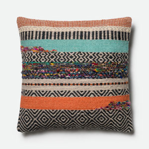 Multicolor 22-Inch Square Throw Pillow with Polyester Filling