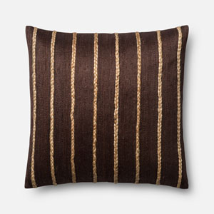 Brown 22-Inch Square Throw Pillow with Polyester Filling