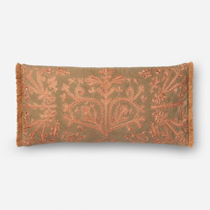 Khaki and Copper 1 Ft. x 2 Ft. 3 In. Pillow Cover with Poly Insert