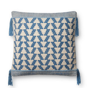 Blue and Ivory 22 In. Pillow with Poly Fill