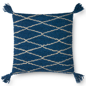 Blue 22 In. Pillow with Poly Fill