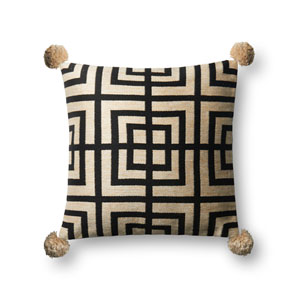 Beige and Black 18 In. Pillow with Poly Fill
