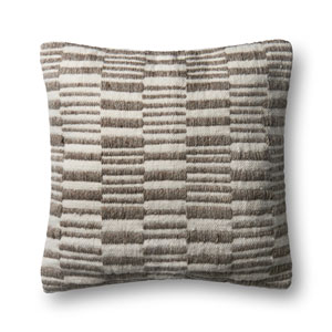 Brown and Natural 22 In. Pillow with Poly Fill