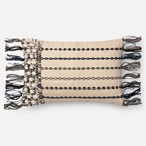 Natural and Blue 13 In. x 21 In. Throw Pillow with Poly Fill