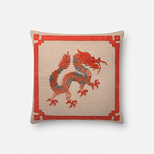Natural and Rust 18 In. x 18 In. Throw Pillow with Poly Fill