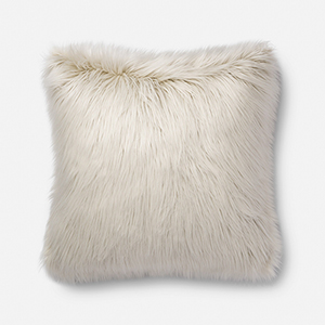 Ivory 22 In. x 22 In. Throw Pillow with Poly Fill