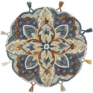 Remy Blue and Multicolor Round: 3 Ft. x 3 Ft. Rug