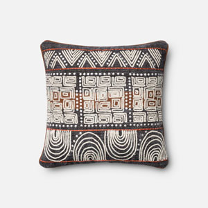 Blue and Rust 18-Inch Pillow with Poly Insert