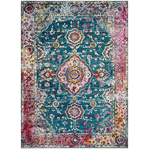 Cielo Teal and Berry Rectangular: 7 Ft. 10 In. x 10 Ft. 6 In. Rug