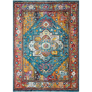 Cielo Blue and Fiesta Rectangular: 7 Ft. 10 In. x 10 Ft. 6 In. Rug