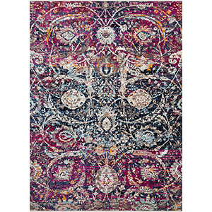 Cielo Midnight and Fuchsia Rectangular: 7 Ft. 10 In. x 10 Ft. 6 In. Rug