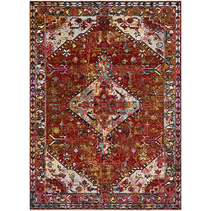 Cielo Red and Multicolor Rectangular: 9 Ft. 3 In. x 13 Ft. 3 In. Rug