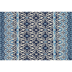 Venice Beach Blue and Ivory Square: 1 Ft. 6 In. Indoor/Outdoor Rug