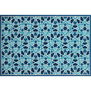 Venice Beach Light Blue and Navy Square: 1 Ft. 6 In. Indoor/Outdoor Rug