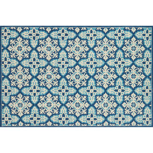 Venice Beach Ivory and Blue Square: 1 Ft. 6 In. Indoor/Outdoor Rug