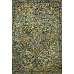 Victoria Dark Green and Tobacco Rectangular: 3 Ft. 6 In. x 5 Ft. 6 In. Rug