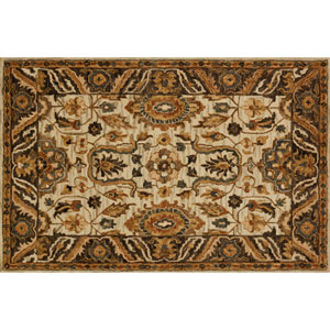 Victoria Ivory and Taupe Rectangular: 2 Ft. 3-Inch x 3 Ft. 9-Inch Area Rug