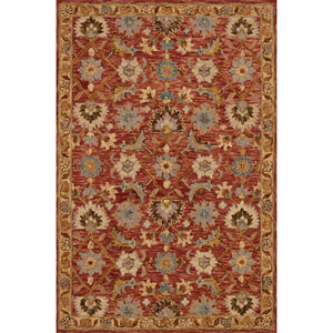 Victoria Terracotta and Gold Rectangular: 2 Ft. 3-Inch x 3 Ft. 9-Inch Rug