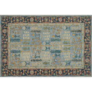 Victoria Light Blue and Dark Blue Rectangular: 2 Ft. 3 In. x 3 Ft. 9 In.