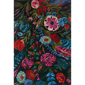 Wild Bloom Forest and Fuchsia Square: 1 Ft. 6 In. x 1 Ft. 6 In. Rug