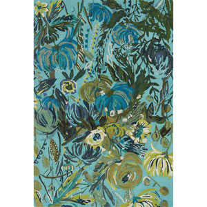 Wild Bloom Aqua and Green Round: 7 Ft. 10 In. x 7 Ft. 10 In. Rug