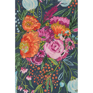 Wild Bloom Midnight and Plum Rectangular: 3 Ft. 6 In. x 5 Ft. 6 In. Rug