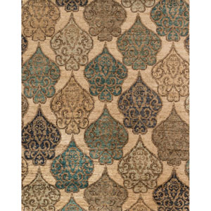 Xavier Beige and Ocean Rectangular: 5 Ft. 6-Inch x 8 Ft. 6-Inch Rug