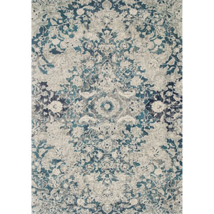 Zehla Ocean and Silver Rectangular: 2 Ft. 2 In. x 3 Ft. 9 In.  Rug