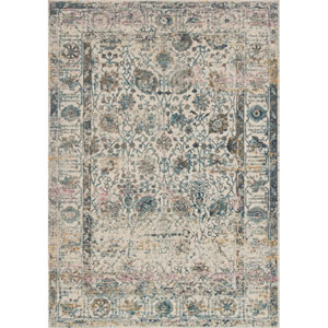 Zehla Ivory and Blue Rectangular: 2 Ft. 2 In. x 3 Ft. 9 In.  Rug