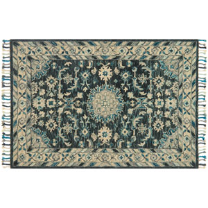 Zharah Teal and Grey Square: 1 Ft. 6-Inch x 1 Ft. 6-Inch