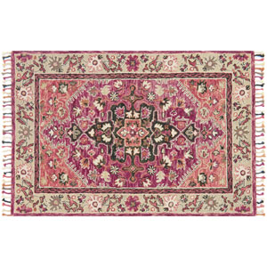 Zharah Raspberry and Taupe Square: 1 Ft. 6-Inch x 1 Ft. 6-Inch