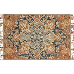 Zharah Rust and Blue Rectangular: 3 Ft. 6 In. x 5 Ft. 6 In.