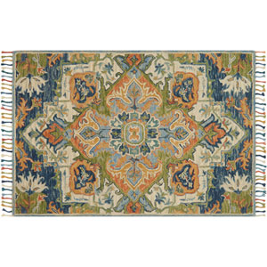 Zharah Blue and Multicolor Rectangular: 3 Ft. 6 In. x 5 Ft. 6 In.