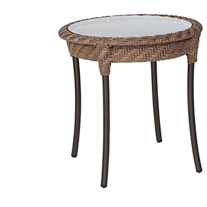 Barlow Bronzed Teak Round End Table