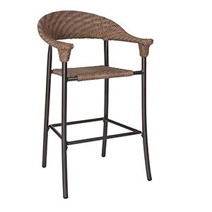 Barlow Bronzed Teak Stationary Bar Stool