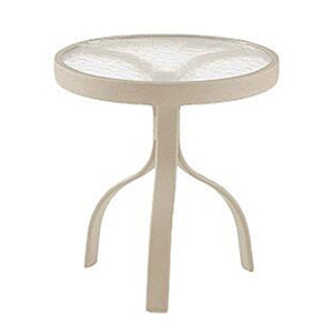 Deluxe Tables White Aluminum Poolside 18 In. Round End Table with Acrylic Top
