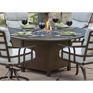 Atlas Hammered Chestnut Brown 48-Inch Round Fire Pit Top with Burner Cover